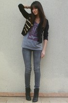 gray diabless jeans - gray Marc by Marc Jacobs t-shirt - black H&M jacket - blac