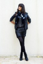 Maje jacket - vintage skirt - new look t-shirt - Tricky Threads scarf - Zara bel