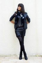 Maje jacket - vintage skirt - new look t-shirt - Tricky Threads scarf - Zara bel