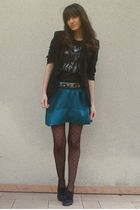green Gat Rimon skirt - black Junk Food t-shirt - black Zara blazer - gray Zara