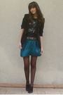 Green-gat-rimon-skirt-black-junk-food-t-shirt-black-zara-blazer-gray-zara-