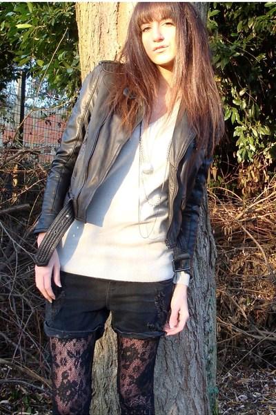black Zara jacket - silver Zara sweater - black Zara shorts - black Chantal Thom