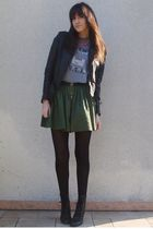 green Zara skirt - silver Marc by Marc Jacobs t-shirt - black Zara jacket