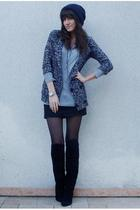 silver Zara t-shirt - black vintage boots - gray f21 cardigan