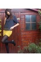 H&M shirt - DIY skirt - Paris belt - Primark tights - new york shoes