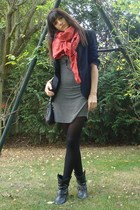 new look dress - Zara blazer - Zara scarf - Urban Outfitters accessories - vinta