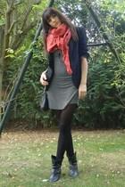 new look dress - Zara blazer - Zara scarf - Urban Outfitters accessories - vinta