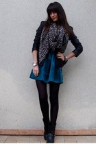 green Gat Rimon dress - black Maje jacket - black texto boots - brown H&M scarf