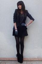 gray Zara blazer - gray Maje t-shirt - black f21 skirt - black Minnetonka boots