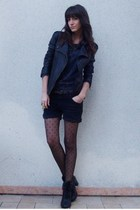black UO boots - black leather Maje jacket - black viktor & rolf for h&m tights
