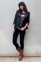 Maje jacket - H&M t-shirt - H&M belt - Stradivarius jeans - new look shoes