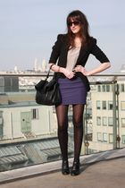 black Zara blazer - purple H&M skirt - beige Ernest blouse
