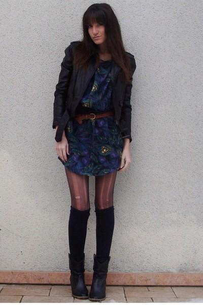 green H&M dress - black Zara jacket - black texto boots - brown vintage belt