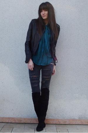 gray DIY jeans - black vintage boots - black Zara jacket - green Zara blouse