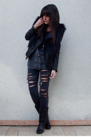 UO sweater - Maje jacket - Jimmy Choo x H&M vest - vintage boots