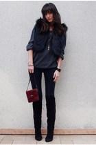 black Jimmy Choo x H&M vest - gray new look sweater - black vintage boots - blac