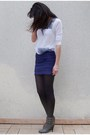 Purple-h-m-skirt-silver-zara-t-shirt-gray-nyc-boots