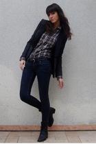 Bershka skirt - Zara blazer - Zara jeans - vintage shoes