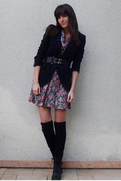 vintage dress - Zara blazer - H&M belt - vintage shoes