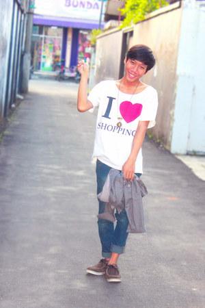 dark brown long sleve Aurel shirt - white cotton T&T shirt