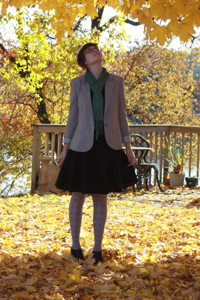 UO blazer - kohls shirt - skirt - tights - Icing scarf - kohls boots