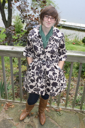 f21 coat - scarf - Old Navy shirt - delias jeans - Aldo boots - earrings
