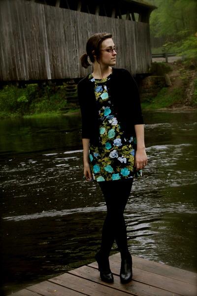 black NY&CO cardigan - blue f21 dress - black kohls tights - black apt 9 boots