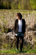 black Silence & Noise blazer - beige alloy blouse - blue  very old shorts - blac