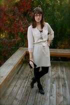 off white f21 dress - black kohls tights - gold f21 necklace