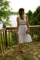 white delias dress - neutral vintage purse - nude Kimchi Blue heels