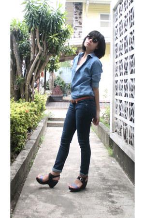 blue denim bench jeans - light blue denim jacket thrifted jacket