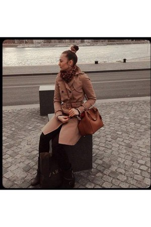brown Zara boots - camel Zara coat - black H&M jeans