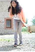 Spring shoes - homemade necklace - vintage shirt - Aubainerie jeans