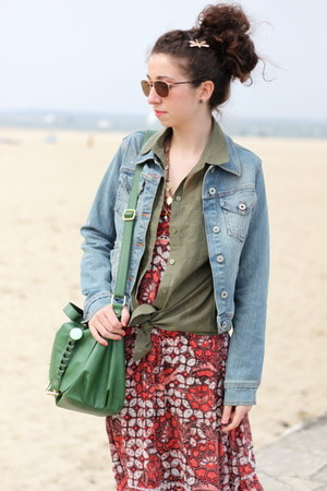 H&M shirt - Vero Moda dress - vintage jacket - H&M bag - Ralph Lauren glasses