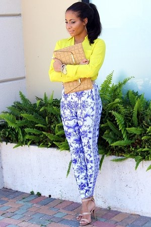 mustard gold plated asos belt - blue romwe leggings