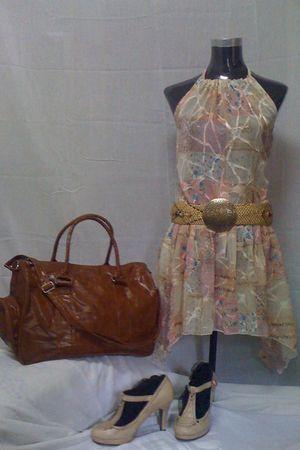 brown bestfindsthriftshop bag - beige bestfindsthriftshop dress - beige vintage