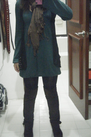 green pull&amp;bear cardigan - black pull&amp;bear boots - brown atikuz tights - black O