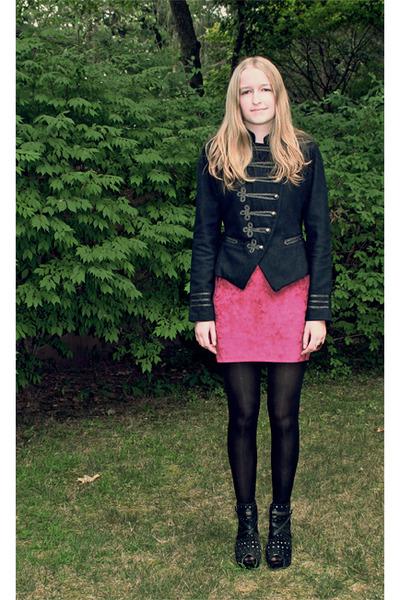 pink self-made skirt - black NYLA shoes - blue Forever 21 coat - black tights