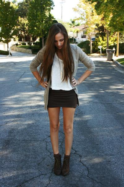 dark brown Forever 21 skirt - beige cardigan - white sweater - dark brown Steve