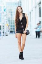 black lace up heels Steve Madden boots - black mesh shirt - black leather Foreve