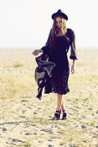 black lace Urban Outfitters dress - black hat - black long sheer thrifted cardig