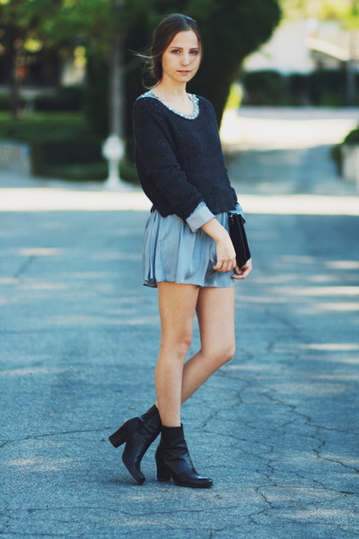 black leather boots - periwinkle dress