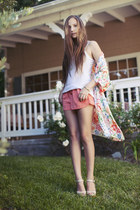 salmon drawstring H&M shorts - off white sandal Aldo clogs - coral robe thrifted