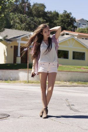 bubble gum pink denim Forever 21 shorts - white sheer silk thrifted blouse - pin
