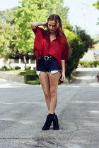 black lace up Steve Madden boots - navy diy thrifted shorts - brick red sheer ca
