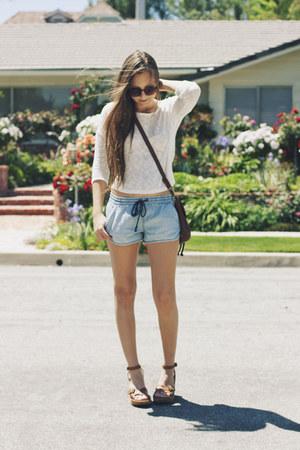 white crop sweater - sky blue denim Forever 21 shorts - camel sandal garage sale