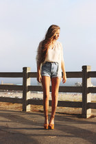 ivory cardigan - light blue denim diy Levis shorts