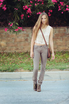 light brown lace up Steve Madden heels - beige jeans - ivory cropped lace top