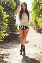 black cowboy boots thrifted boots - ivory poncho Wholesale-Dress sweater - black