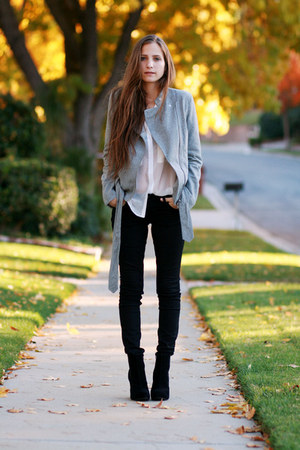 black platform boots - black coated jeans - white button up blouse